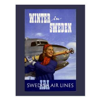 Winter in Sweden Vintage Travel Postcard