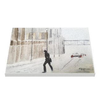 WINTER IN THE CITY  WATERCOLOR CANVAS PRINT