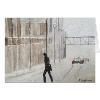 WINTER IN THE CITY  . WATERCOLOR CARD