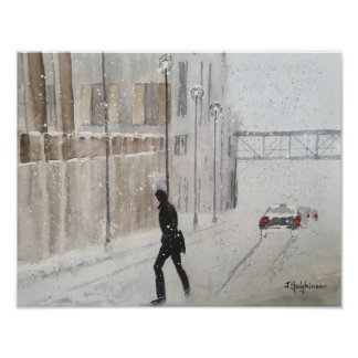 WINTER IN THE CITY  . WATERCOLOR POSTER