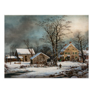 Winter in the Country, A cold  Morning Archival Pr Poster