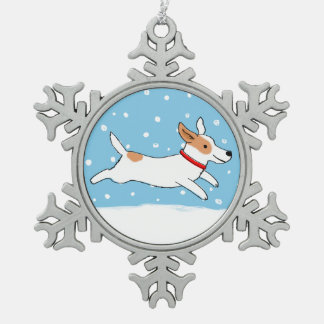 Winter Jack Russell Terrier  - Cute Holiday Dog Snowflake Pewter Christmas Ornament