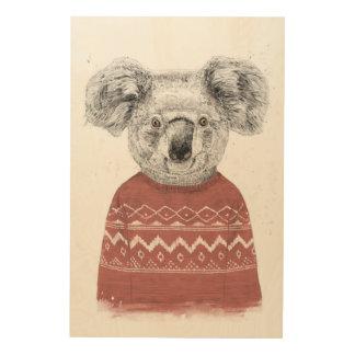 Winter koala (red) wood wall art