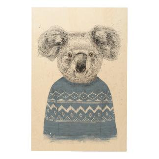 Winter koala wood wall art