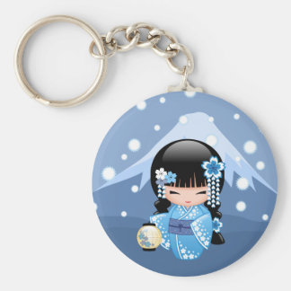 Winter Kokeshi Doll - Blue Kimono Geisha Girl Key Ring
