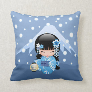 Winter Kokeshi Doll - Blue Mountain Geisha Girl Cushion
