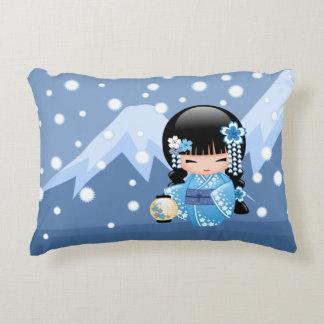 Winter Kokeshi Doll - Blue Mountain Geisha Girl Decorative Cushion