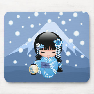 Winter Kokeshi Doll - Blue Mountain Geisha Girl Mouse Pad