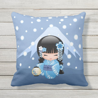 Winter Kokeshi Doll - Blue Mountain Geisha Girl Outdoor Cushion
