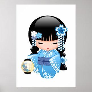 Winter Kokeshi Doll - Blue Mountain Geisha Girl Poster
