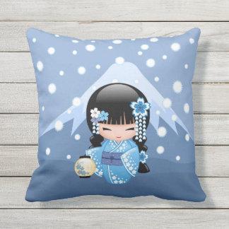 Winter Kokeshi Doll - Blue Mountain Geisha Girl Throw Pillow
