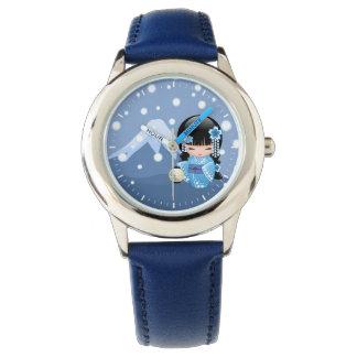 Winter Kokeshi Doll - Blue Mountain Geisha Girl Watch