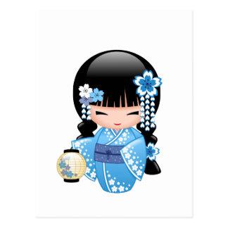 Winter Kokeshi Doll - Geisha Girl Postcard