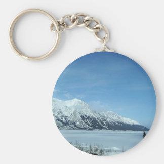 winter lake and mountains key ring