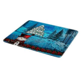 Winter Lake Christmas Folk Art Cutting Board