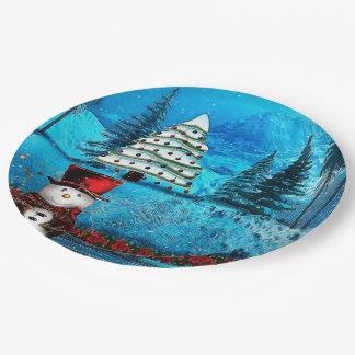 Winter Lake Christmas Folk Art Paper Plate