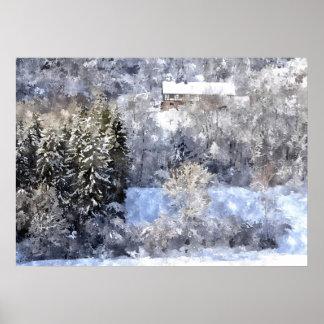 Winter landscape - Artwork Jean Louis Glineur Poster