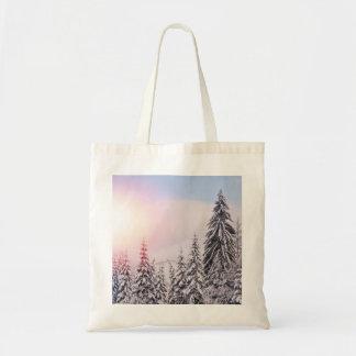 Winter landscape budget tote bag.