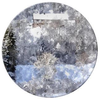 Winter landscape - by Jean Louis Glineur Porcelain Plate