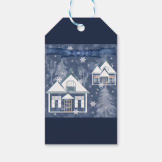 Winter landscape gift tags