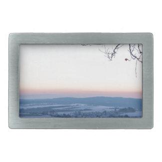 Winter landscape in Germany in the morning Belt Buckles