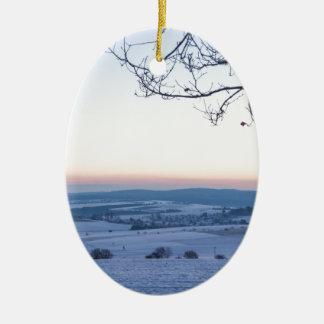 Winter landscape in Germany in the morning Ceramic Ornament