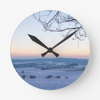 Winter landscape in Germany in the morning Round Clock