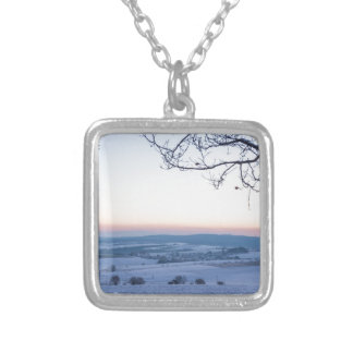 Winter landscape in Germany in the morning Silver Plated Necklace
