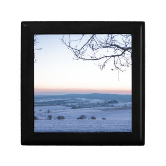 Winter landscape in Germany in the morning Small Square Gift Box