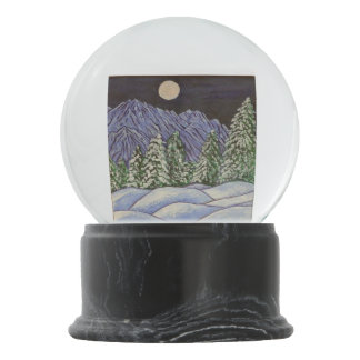 Winter Landscape Night Moon Trees Snow Mountain Snow Globe