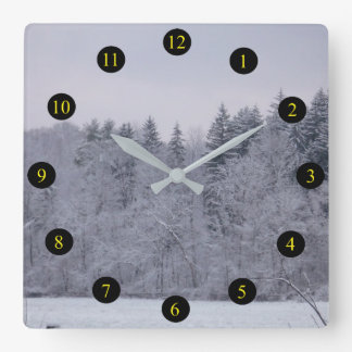 Winter Landscape Square Wall Clock