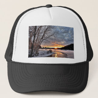 Winter Landscape Sunset Twilight Winter Snow Cold Trucker Hat