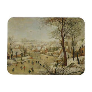Winter Landscape with Bird Trap (oil on panel) Flexible Magnet