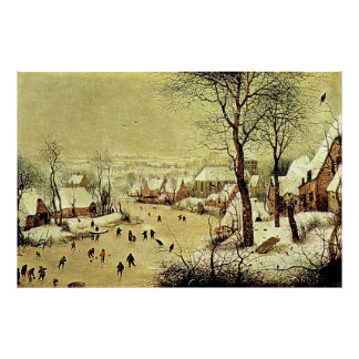 Winter Landscape with Skaters and Bird Trap (1565) Poster