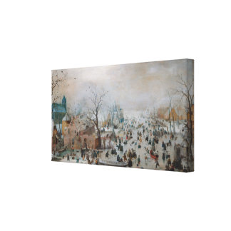 Winter Landscape With Skaters by Hendrick Avercamp Canvas Print