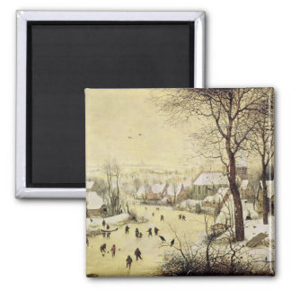 Winter Landscape with Skaters Fridge Magnets