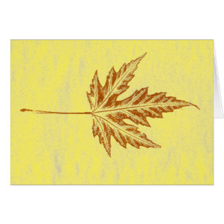 """""""Winter Leaf #4 On Yellow"""" Country Greeting Card"""