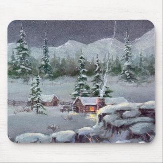 WINTER LOG CABIN by SHARON SHARPE Mousepad