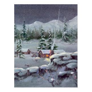 WINTER LOG CABIN by SHARON SHARPE Post Card