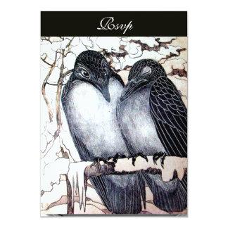 WINTER LOVE BIRDS  BLACK WHITE DAMASK MONOGRAM 13 CM X 18 CM INVITATION CARD