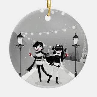 Winter Love Ceramic Ornament