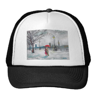 Winter lovers snow London Thames Big Ben painting Trucker Hat