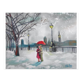 Winter lovers snow London Thames Big Ben painting Postcard