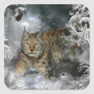 Winter Lynx Square Sticker