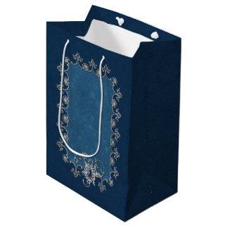 Winter Magic Silver and Snow on Midnight Blue Medium Gift Bag