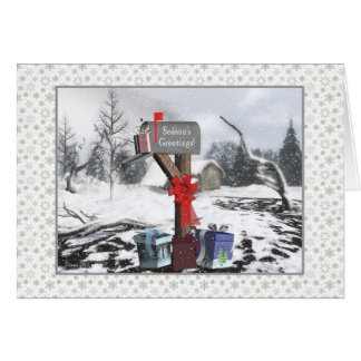 Winter Mailbox Season's Greetings To Mail Carrier Greeting Card
