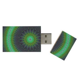 Winter mandala wood USB flash drive