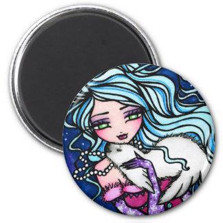 Winter Mermaid Seal Snowflake Art by Hannah Lynn 6 Cm Round Magnet