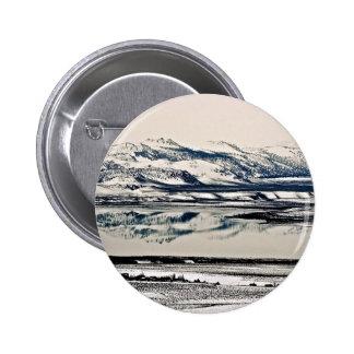WINTER MIRROR REFLECTIONS AT MONO LAKE CA PINBACK BUTTONS
