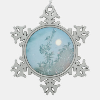 Winter moon 2 snowflake pewter christmas ornament